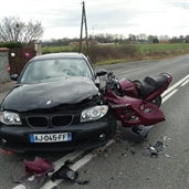 BMW and Motorcycle crash