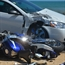 A biker speeding south on A1A in Flagler Beach struck a two-door Pontiac GT